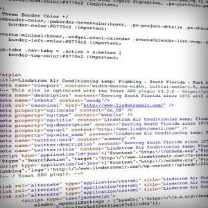 A screen of code highlighting SEO keywords